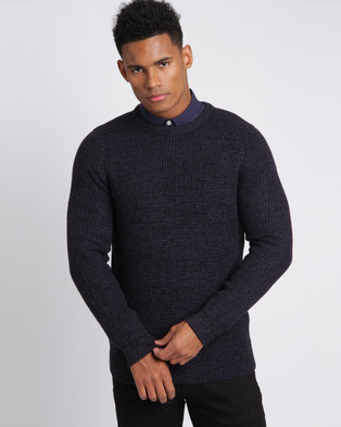 New Look Textured Crew Neck Jumper Navy
