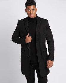 New Look Smart Overcoat Black