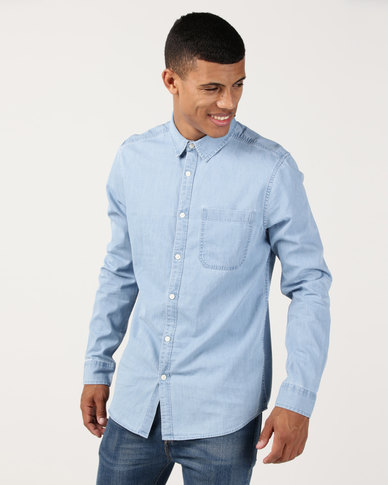 New Look Long Sleeve Denim Shirt Pale Blue