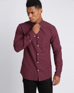 New Look Long Sleeve Oxford Shirt Burgundy