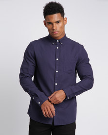 New Look Long Sleeve Oxford Shirt Navy