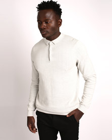 New Look Silver Long Sleeve Polo Neck Shirt Grey