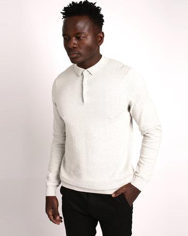 New Look Silver Long Sleeve Polo Neck Shirt Grey