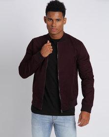 New Look Cotton Bomber Jacket Burgundy
