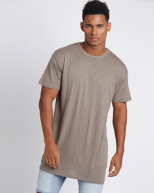 New Look Split Hem Long-line T-Shirt Khaki