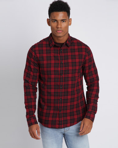New Look Check Collared Shirt Red