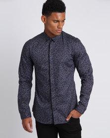 New Look Leopard Print Long Sleeve Shirt Blue