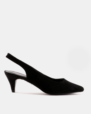 New Look Thrifty Suedette Cone Sling Back Black