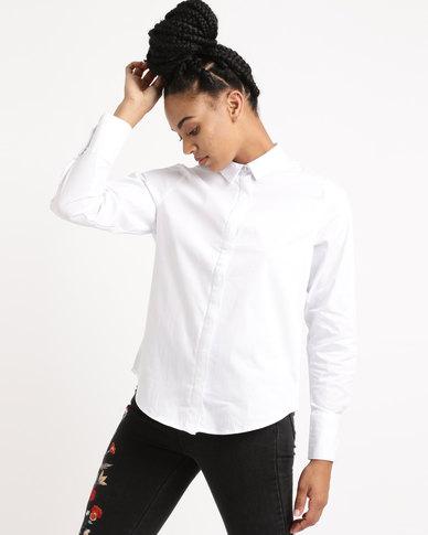 New Look Curved Hem Shirt White