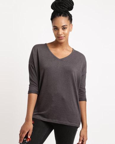 New Look V Neck Fine Knit Top Dark Grey