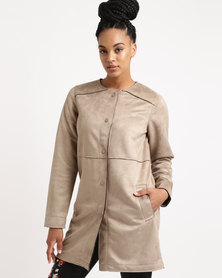 New Look Suedette Collarless Longline Jacket Stone