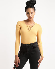 New Look Lace Up Neck Long Sleeve Top Yellow