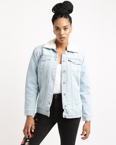 New Look Faux Fur Collar Denim Jacket Blue