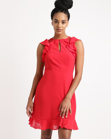 New Look Lace Trim Ruffle Dress Red