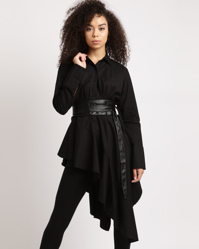 Utopia Asymmetrical Shirt With Ring Belt Black