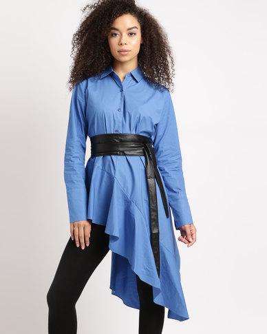 Utopia Asymmetrical Shirt With Ring Belt Cobalt