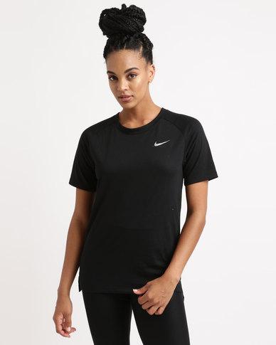 Nike Performance Womens NK BRTHE Tailwind Short Sleeve Top Black
