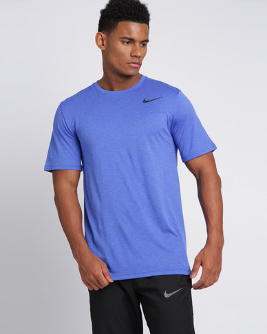 e59bcd053 Nike Performance Mens Nike Breathe Top Short Sleeve Hyper Dry Blue/Black |  Zando