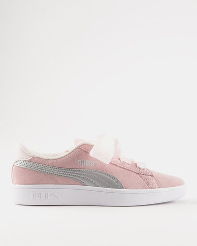 Puma Smash V2 Ribbon Junior Sneaker Silver Pink  55bf374c6