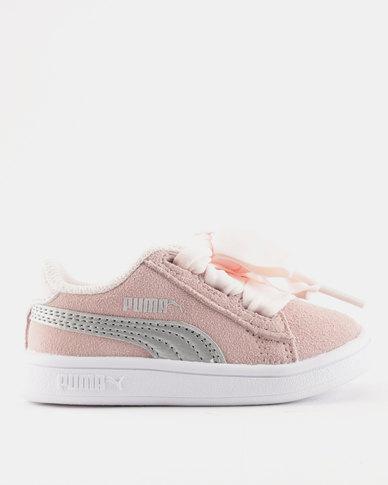Puma Smash V2 Ribbon AC Infant Sneakers Pink  c72dea2e0