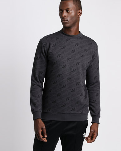 adidas All Over Print Crew Sweater Carbon