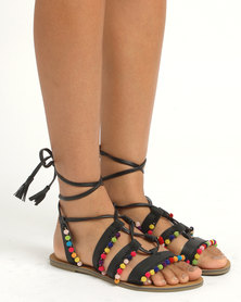 Legit Ghilly Lace Up Sandals Black