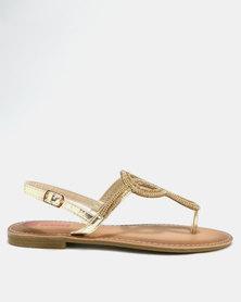 Legit Beaded Thong Sandal Gold