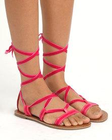 Legit Lace Up Sandals Pink