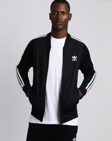 adidas Mens Tricot Track Top Black/White