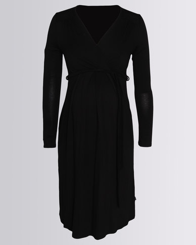 Cherry Melon Mock Wrap Dress Black