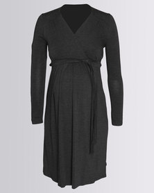 Cherry Melon Mock Wrap Dress Charcoal