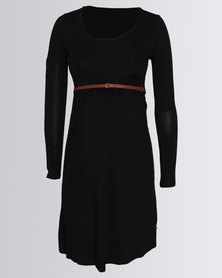 Cherry Melon Belted Scoop Neck Dress Black