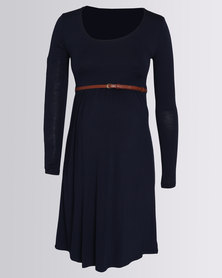 Cherry Melon Belted Scoop Neck Dress Navy