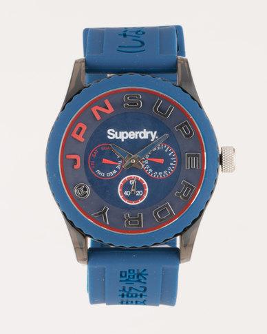 Superdry Tokyo Multi Silicone Strap Watch Dark Blue