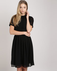 Your Style Chiffon Button Stand Summer Dress Black