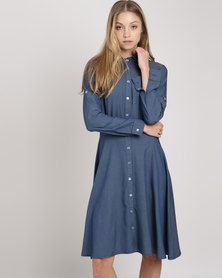 Your Style Denim Shirt Dress Blue