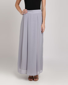 Your Style Pleated Full Length Skirt Grey