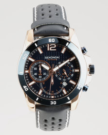 Sekonda Round Rose Gold Plated With Two Tone Case Watch Dark Blue