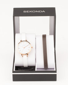 Sekond Leather Strap Gift Box Brown/White