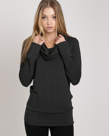 Your Style Cowl Neck Top Grey