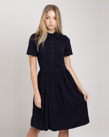 Your Style Button Stand Summer Dress Navy