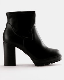 Utopia Stretch PU Ankle Boot Black