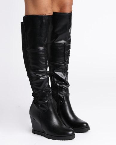 1c2c5e2b3aadd Utopia Knee High Wedge Boots Black