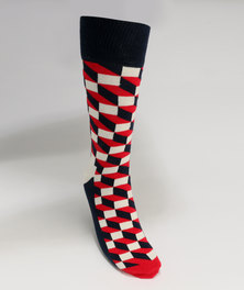 Happy Socks Filled Optic Socks Black/Red