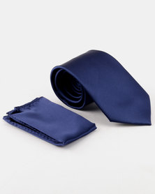 Robert Daniel Classic Tie with Pocket Square 8.5cm Navy