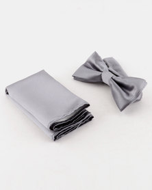 Robert Daniel Bow Tie With Pocket Square Grey
