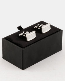 Robert Daniel Recatangle Intrest Cuff Links Silver-tone