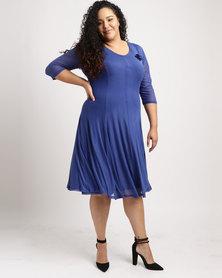 Queenspark Plus New Flared Glamour Mesh Knit Dress Cobalt