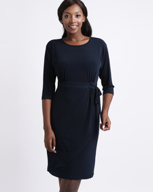Miss Cassidy Wrap Detailed Knit Dress Navy
