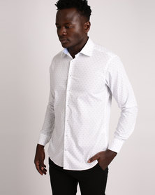 Robert Daniel Geometric Print Shirt White/Blue